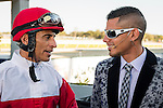 OLDSMAR, FLORIDA - FEBRUARY 11: John R. Velazquez (red hat), with Andrew Demsky, after winning the Tampa Bay Stakes, at Tampa Bay Downs on February 11, 2017 in Oldsmar, Florida (photo by Douglas DeFelice/Eclipse Sportswire/Getty Images)