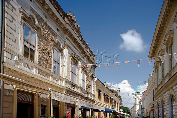 Ornate old buildings in the old quarter of Pecs, Hungary, Europe