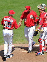 15 June 2006: Livan Hernandez, pitcher for the Washington Nationals, is relieved of duties by manager Frank Robinson after throwing a season-high 138 pitches against the Colorado Rockies at RFK Stadium, in Washington, DC. The Rockies defeated the Nationals, 8-1 to sweep the four-game series...Mandatory Photo Credit: Ed Wolfstein Photo...