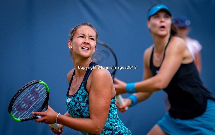 Den Bosch, Netherlands, 12 June, 2018, Tennis, Libema Open, Womans doubles: Lesley Kerkhove (NED) (L) and Lidziya Marozava (BLR)<br /> Photo: Henk Koster/tennisimages.com