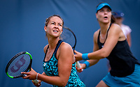 Den Bosch, Netherlands, 12 June, 2018, Tennis, Libema Open, Womans doubles: Lesley Kerkhove (NED) (L) and Lidziya Marozava (BLR)<br /> Photo: Henk Koster/tennisimages.com