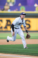 Winston-Salem Dash third baseman Trey Michalczewski (8) on defense against the Myrtle Beach Pelicans at BB&T Ballpark on May 9, 2015 in Winston-Salem, North Carolina.  The Pelicans defeated the Dash 3-2 in 10 innings in the first game of a double-header.  (Brian Westerholt/Four Seam Images)