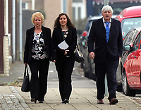 """Pictured: Nursery owner Katie Davies (C) arrives at Swansea Crown Court. 28 March 2017<br /> Re: Toddlers at a private nursery were force fed, gagged and picked up by their wrists, Swansea Crown court has heard.<br /> Three childcare professionals are accused of cruelty at the busy nursery which had a """"rough house culture"""".<br /> The whistle was blown by sixthformers on work placements at the nursery which looks after newborn infants and children up to the age of seven.<br /> """"The children concerned were left distressed and traumatised.<br /> The mother of one of the children sobbed in the public gallery after hearing how he was treated at the Bright Sparks nursery in Port Talbot, South Wales,<br /> Owner and manager Katie Davies, 32, deputy manager Christina Pinchess, 31, and and staff member Shelbie Forgan, 22, deny the child cruelty charges against them."""