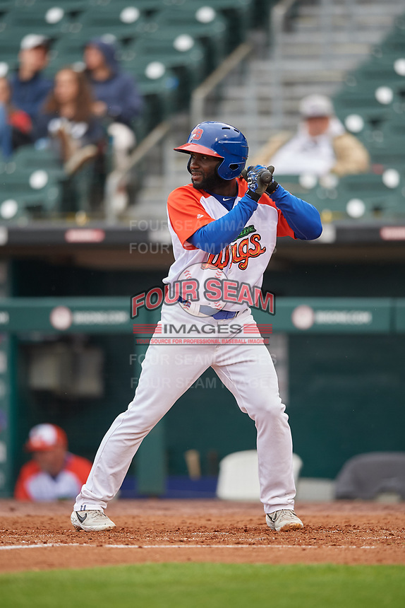 """Buffalo Bisons Roemon Fields (4) at bat during an International League game against the Scranton/Wilkes-Barre RailRiders on June 5, 2019 at Sahlen Field in Buffalo, New York.  The Bisons wore special uniforms as they played under the name the """"Buffalo Wings"""". Scranton defeated Buffalo 3-0, the first game of a doubleheader. (Mike Janes/Four Seam Images)"""