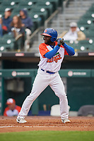 "Buffalo Bisons Roemon Fields (4) at bat during an International League game against the Scranton/Wilkes-Barre RailRiders on June 5, 2019 at Sahlen Field in Buffalo, New York.  The Bisons wore special uniforms as they played under the name the ""Buffalo Wings"". Scranton defeated Buffalo 3-0, the first game of a doubleheader. (Mike Janes/Four Seam Images)"