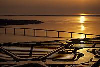 Europe/France/Poitou-Charentes/17/Charente-Maritime/Estuaire de la Seudre: L'estuaire et les parcs à huitres au soleil couchant Vue aérienne