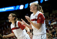 SPOKANE, WA - MARCH 28, 2011: Mikaela Ruef, Jeanette Pohlen, Kayla Pedersen, Stanford Women's Basketball vs Gonzaga, NCAA West Regional Finals at the Spokane Arena on March 28, 2011.