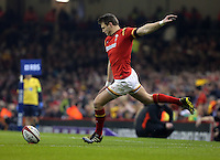 Dan Biggar of Wales scores from the spot during the RBS 6 Nations Championship rugby game between Wales and Scotland at the Principality Stadium, Cardiff, Wales, UK Saturday 13 February 2016