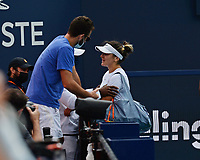 MIAMI GARDENS, FL - APRIL 03: Bianca Andreescu is seen with her team after retiring in her match with Ashleigh Barty during the Women's finals at the 2021Miami Open at Hard Rock Stadium, Ashleigh Barty defeats Bianca Andreescu 6-3, 4-0 ret on April 3, 2021 in Miami Gardens, Florida. Credit: mpi04/MediaPunch