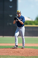 Milwaukee Brewers relief pitcher Joey Matulovich (45) gets ready to deliver a pitch during an Instructional League game against the San Diego Padres at Peoria Sports Complex on September 21, 2018 in Peoria, Arizona. (Zachary Lucy/Four Seam Images)