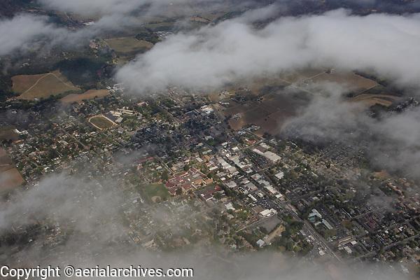 aerial photograph of St. Helena, Napa County, California through dissipating fog