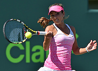 """KEY BISCAYNE, FL - MARCH 29: Serena Williams of the United States defeats Catherine """"CiCi"""" Bellis of the United States in strait sets in their third round match during the Miami Open at Crandon Park Tennis Center on March 29, 2015 in Key Biscayne, Florida.<br /> <br /> <br /> People:  CiCi Bellis<br /> <br /> Transmission Ref:  FLXX<br /> <br /> Must call if interested<br /> Michael Storms<br /> Storms Media Group Inc.<br /> 305-632-3400 - Cell<br /> 305-513-5783 - Fax<br /> MikeStorm@aol.com"""