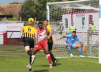 Finn O'Mara of Folkestone Invicta heads the ball towards the Ramsgate goal during Ramsgate vs Folkestone Invicta, Friendly Match Football at Southwood Stadium on 1st August 2020