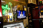 A TV in the window of Zaragoza Mexican Deli & Grocery displays Fox News' broadcast of Vice President-Elect Kamala Harris' acceptance speech after she and President-elect Joe Biden were declared the winners of the 2020 presidential election, defeating U.S. President Donald Trump and Vice President Michael Pence, on November 7, 2020 in New York City.  Photograph by Michael Nagle
