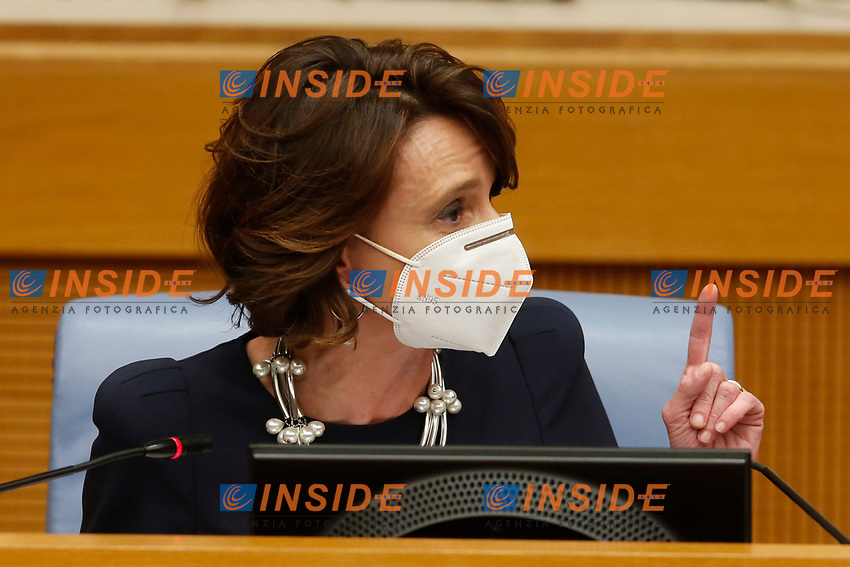 The minister of equal opportunities Elena Bonetti during the press conference that officially opens the Government crisis. Indeed, ministers of his party ha resigned as protest.<br /> Rome(Italy), January 13th 2021<br /> Photo Samantha Zucchi/Insidefoto