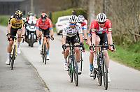 Julian Alaphilippe (FRA/Deceuninck - QuickStep) biting his lip in the fine company of Kasper Asgreen (DEN/Deceuninck - Quick Step), Mathieu Van der Poel (NED/Alpecin-Fenix) & Wout van Aert (BEL/Jumbo-Visma)<br /> <br /> 105th Ronde van Vlaanderen 2021 (MEN1.UWT)<br /> <br /> 1 day race from Antwerp to Oudenaarde (BEL/264km) <br /> <br /> ©kramon