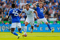 11th September 2021; King Power Stadium, Leicester, Leicestershire, England;  Premier League Football, Leicester City versus Manchester City; Rodri  of Manchester City chases down Wilfred Ndidi of Leicester City
