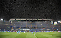 General view as snow falls before 2nd half kick off during the FA Youth Cup FINAL match between Chelsea U18 and Man City U18 at Stamford Bridge, London, England on 27 April 2016. Photo by Andy Rowland.