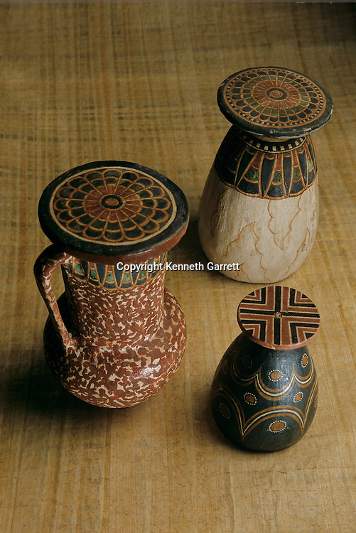 Imitation Stone vessels; Painted wood; Reign of Amenhotep III,Tutankhamun and the Golden Age of the Pharaohs, Page 69