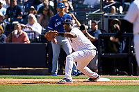 New York Yankees first baseman Chris Gittens (92) during a Spring Training game against the Toronto Blue Jays on February 22, 2020 at the George M. Steinbrenner Field in Tampa, Florida.  (Mike Janes/Four Seam Images)