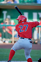 Johan Sala (27) of the Orem Owlz bats against the Ogden Raptors at Lindquist Field on June 22, 2019 in Ogden, Utah. The Owlz defeated the Raptors 7-4. (Stephen Smith/Four Seam Images)