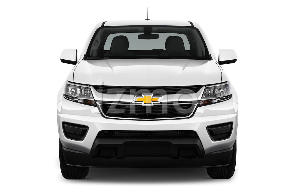 Car photography straight front view of a 2016 Chevrolet Colorado Work-Truck-Crew 4 Door Pick-up Front View