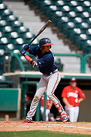 Atlanta Braves Juan Morales (24) at bat during a Florida Instructional League game against the Canadian Junior National Team on October 9, 2018 at the ESPN Wide World of Sports Complex in Orlando, Florida.  (Mike Janes/Four Seam Images)