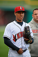 Indianapolis Indians left fielder Chris Bostick (7) before a game against the Toledo Mud Hens on May 2, 2017 at Victory Field in Indianapolis, Indiana.  Indianapolis defeated Toledo 9-2.  (Mike Janes/Four Seam Images)
