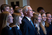 United States Vice President Mike Pence takes a photo with a new class of Senate Pages following Republican Senate luncheons on Capitol Hill in Washington D.C., U.S., on Tuesday, November 5, 2019.<br />  <br /> Credit: Stefani Reynolds / CNP /MediaPunch