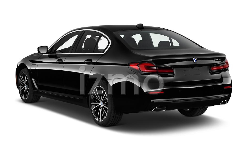 Car pictures of rear three quarter view of 2021 BMW 5-Series 530e-Sport 4 Door Sedan Angular Rear