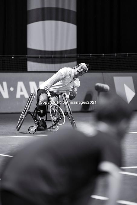 Rotterdam, The Netherlands, 4 march  2021, ABNAMRO World Tennis Tournament, Ahoy, First round wheelchair: Martin De La Puente (ESP) vs. Takashi Sanada (JPN).<br /> Photo: www.tennisimages.com/