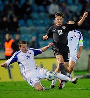Robbie Rogers (19) battles against Jan Durica (16). Slovakia defeated the US Men's National Team 1-0 at the Tehelne Pole in Bratislava, Slovakia on November 14th, 2009.