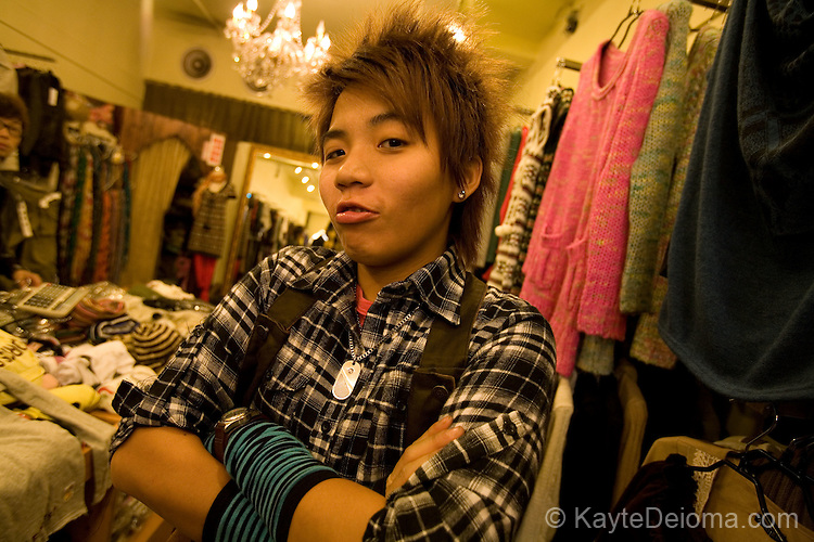 A cheeky saleswoman in a funky fashion boutique in the Shimen District, Taipei, Taiwan, ROC