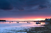 The River Findhorn and Findhorn Bay at sunset, Findhorn, Moray