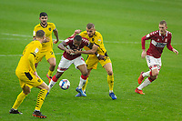 3rd October 2020; Riverside Stadium, Middlesbrough, Cleveland, England; English Football League Championship Football, Middlesbrough versus Barnsley; Britt Assombalonga of Middlesbrough FC keeps possession under pressure from Michal Helik of Barnsley FC