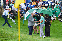 6th June 2021; Dublin, Ohio, USA; Collin Morikawa (USA) shakes hands with Jack Nicklaus near the green on 18 during the Memorial Tournament final round at Muirfield Village Golf Club
