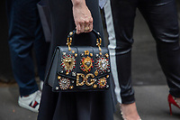 Milan,Italy - 19th june 2021 - Dolce & Gabbana fashion show for Milano fashion week Men's collection 18-22 june 2021 - close up woman with a dolce & gabbana handbag