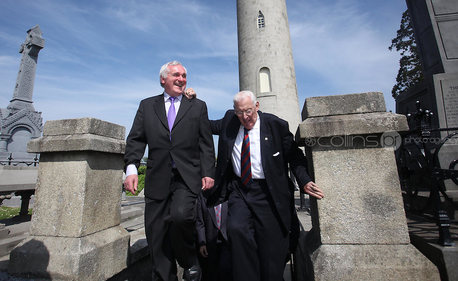 03/06/2010.Former Taoiseach Bertie Ahern TD & Dr Ian Paisley at Daniel O' Connells Roundtower during a vist by Dr Ian Paisley to Glasnevin Cemetary, Dublin. .Photo: Gareth Chaney Collins