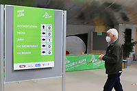 2021 Cycling Tour of the Alps Stage 1 Bressanone, Innsbruck, Italy, Austria Apr 19th; A man wearing a mask walks past the Accreditation centre