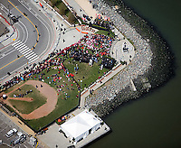 aerial photograph of the Olympic torch relay ceremony at McCovey Cove, San Francisco, California, 2008