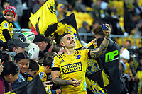 TJ Perenara with fans after the Super Rugby Aotearoa match between the Hurricanes and Chiefs at Sky Stadium in Wellington, New Zealand on Saturday, 8 August 2020. Photo: Dave Lintott / lintottphoto.co.nz