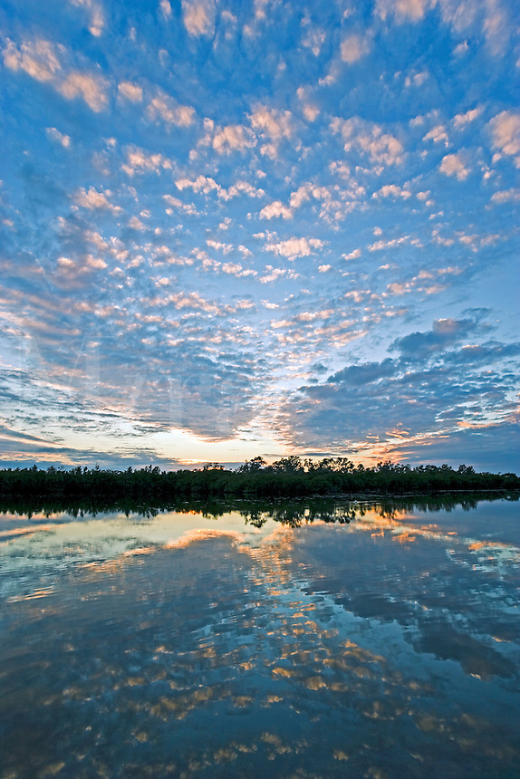 Sunset in cumulus cloud formation reflected in pond, FL, USA