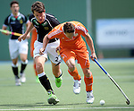 GER - Mannheim, Germany, May 16: During the whitsun tournament boys hockey match between Germany (black) and The Netherlands (orange) on May 16, 2016 at Mannheimer HC in Mannheim, Germany. Final score 4-3 (HT 2-0). (Photo by Dirk Markgraf / www.265-images.com) *** Local caption *** Robert Duckscheer #27 of Germany (U16) Pepijn Reyenga #3 of The Netherlands