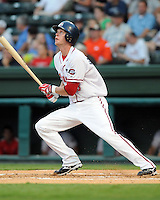 August 13, 2009: Outfielder Jeremy Hazelbaker (15) of the Greenville Drive, 2009 fourth round draft pick of the Boston Red Sox, in a game at Fluor Field at the West End in Greenville, S.C. Photo by: Tom Priddy/Four Seam Images