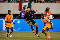 iMexico forward Raul Jimenez (9). Mexico defeated the Ivory Coast 4-1 during an international friendly at MetLife Stadium in East Rutherford, NJ, on August 14, 2013.