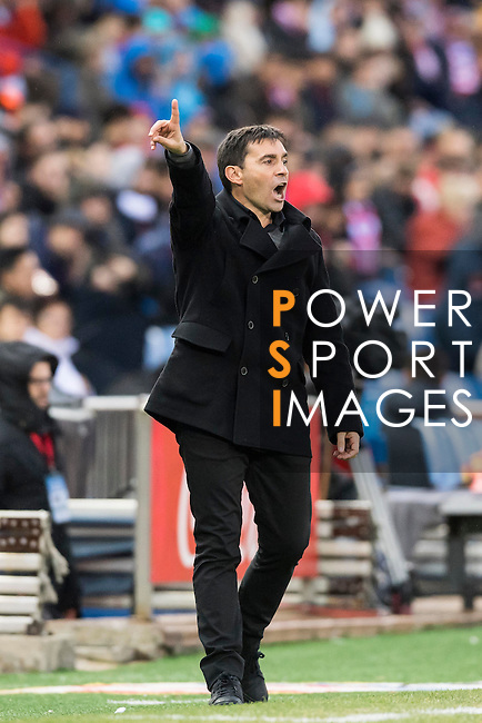 Head coach Asier Garitano of Deportivo Leganes reacts during their La Liga match between Atletico de Madrid and Deportivo Leganes at the Vicente Calderón Stadium on 04 February 2017 in Madrid, Spain. Photo by Diego Gonzalez Souto / Power Sport Images