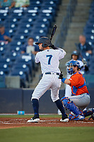 Tampa Tarpons Pablo Olivares (7) at bat during a Florida State League game against the St. Lucie Mets on April 10, 2019 at George M. Steinbrenner Field in Tampa, Florida.  St. Lucie defeated Tampa 4-3.  (Mike Janes/Four Seam Images)