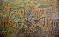 Cambodia, Angkor Wat.  Bas-relief Carving Showing King Suryavarman II on his Throne addressing his People before the Battle of Kurukshetra.