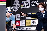 Remco Evenepoel (BEL/Deceuninck-Quickstep) getting the countdown on the start ramp<br /> <br /> Men Elite Individual Time Trial <br /> from Knokke-Heist to Bruges (43.3 km)<br /> <br /> UCI Road World Championships - Flanders Belgium 2021<br /> <br /> ©kramon