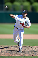 Glendale Desert Dogs pitcher Zach Jones (52), of the Minnesota Twins organization, during an Arizona Fall League game against the Mesa Solar Sox on October 8, 2013 at Camelback Ranch Stadium in Glendale, Arizona.  The game ended in an 8-8 tie after 11 innings.  (Mike Janes/Four Seam Images)